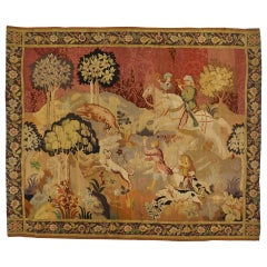 Antique European Tapestry with Medieval Hunting Scene, Antique Wall Hanging