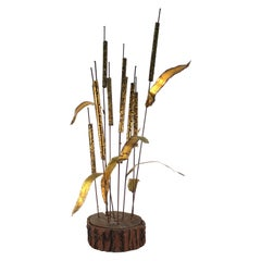 Curtis Jere Manner Mid-Century Modern Cattail Sculpture on Wood Base