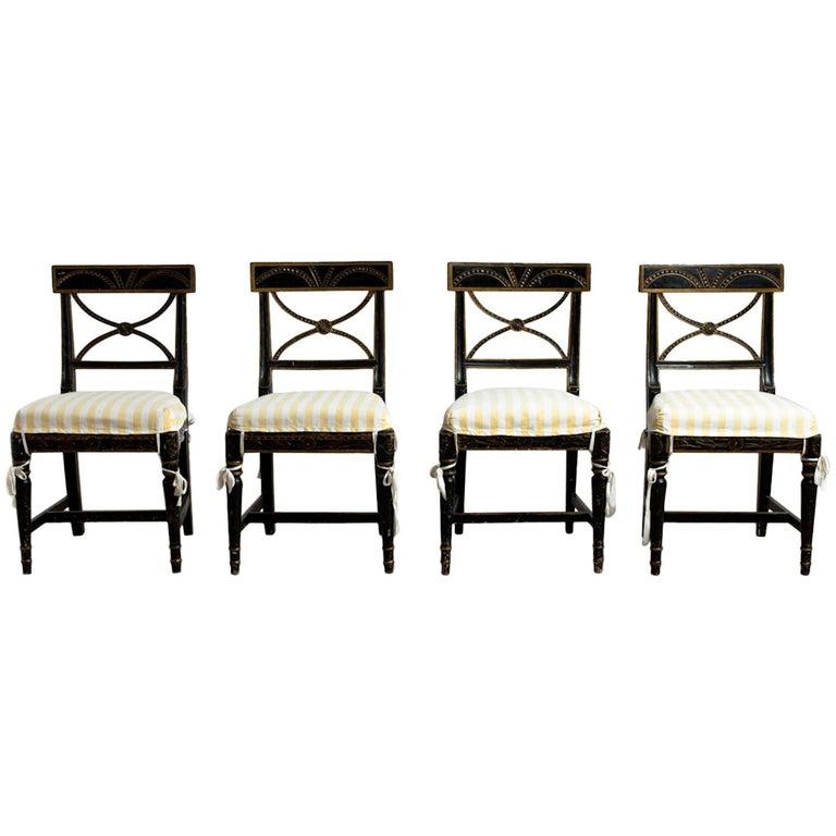 "Gustavian ""Bellman"" Chairs, Set of Four (4), Origin, Sweden, circa 1800 For Sale"