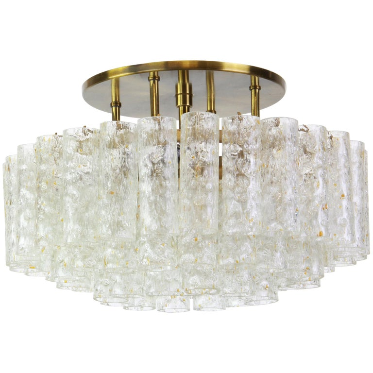 Stunning Murano Ice Glass Tubes Flush Mount by Doria, Germany, 1960s