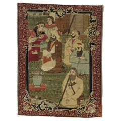 Antique Persian Kirman 'Kerman' Pictorial Rug, Persian Tapestry Wall Hanging
