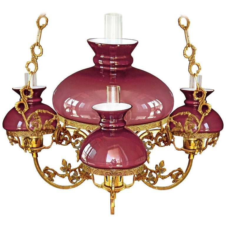 Antique French Victorian Pink Glass Shades Bronze Hanging Oil Lamp Chandelier