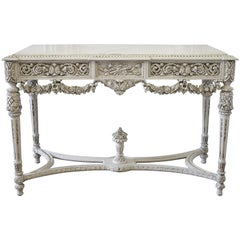 20th Century French Louis XVI Style Carved Wood and Marble Console Table