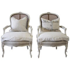 20th Century Pair of Painted Louis XV Style Painted Cane Back Chairs