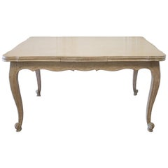 French Parquetry Extending Dining Table with Pull Out Leaves