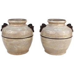Pair of Asian Style Ceramic Jars or Urns with Metal Handles
