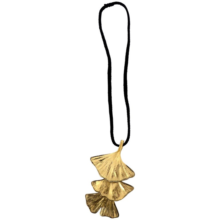 Paul Oudet for Claude De Muzac French Gilded Bronze Ginko Necklace For Sale