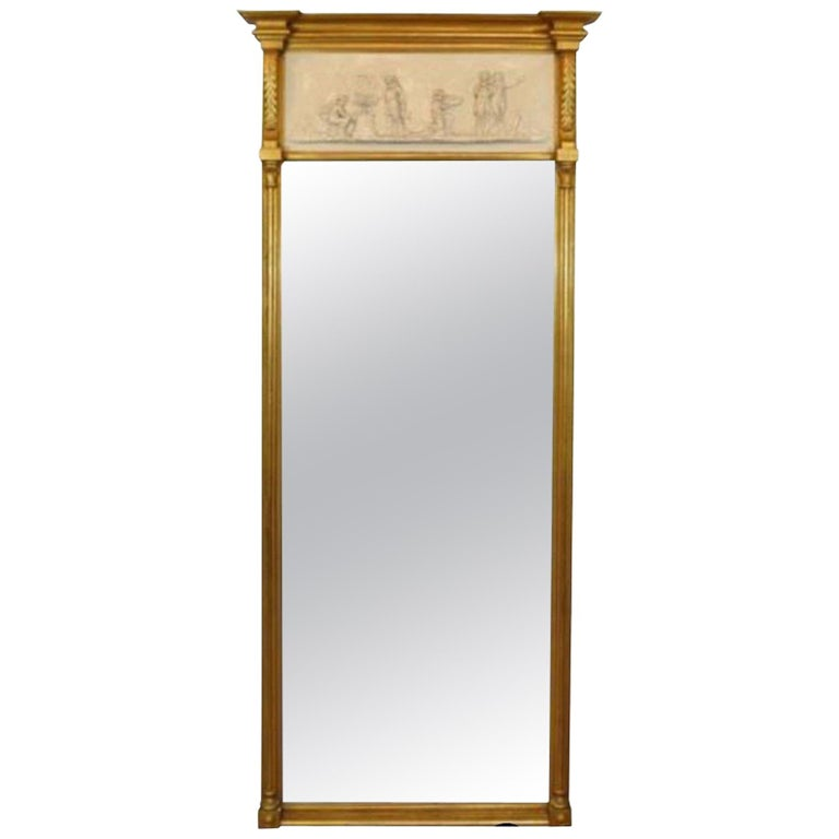 Vintage Greek Neoclassical Style Friedman Brothers Gold Giltwood Trumeau Mirror