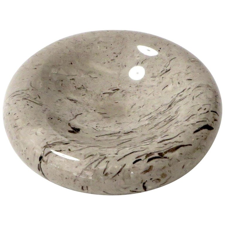 Italian Taupe Brown and Mocha Marble Bowl Vide Poche by Sergio Asti Up & Up For Sale