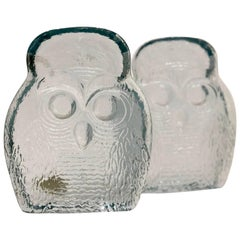 Mid-Century Modern Pair of Owl Bookends by Blenko
