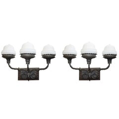 Pair of Large Vintage Triple Arm Lights