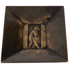 Just Anderson for GAB Swedish Art Deco Bronze Dish with Figure