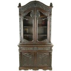 Antique Carved Oak Bookcase Baroque Cabinet Carved Oak, France, 1880