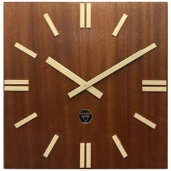 Wooden Industrial Factory Wall Clock by Pragotron
