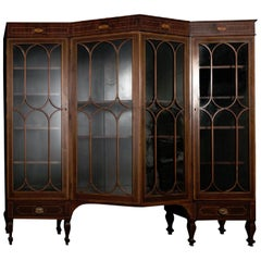 Georgian Style Inlaid Mahogany Architectural Bookcase