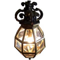 1900 Antique Rare Brass Cage Pendant Lantern