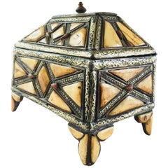 Moroccan Decorative Jewelry Box Inlaid with Bone and Silvered Brass