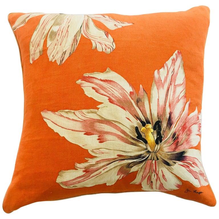 Jim Thompson Orange Designer Decorative Pillow with Lotus Flower Print
