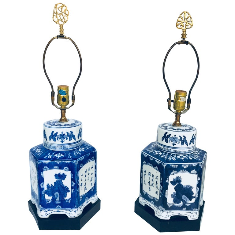 Pair of Blue and White Chinese Porcelain Tea Canisters Table Lamps