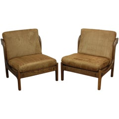 Pair of Ib Kofod-Larsen Wenge Lounge Chairs for the Megiddo Collection