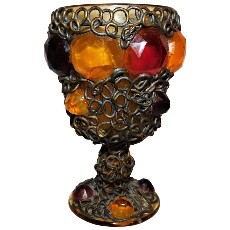 Ornate 19th Century Medieval Style Bejeweled Goblet/Chalice For Sale