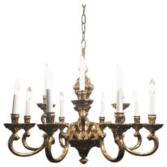 Traditional Twelve-Light Brass Chandelier