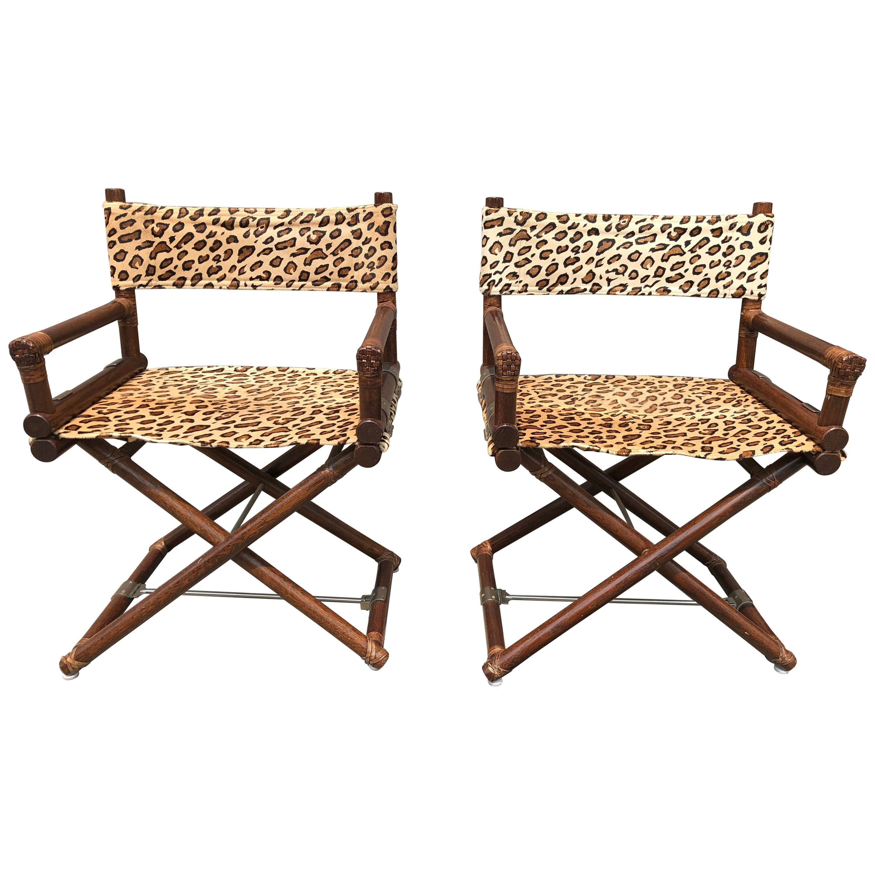 Mcguire animal print campaign chairs a pair for sale at 1stdibs
