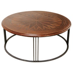 19th Century Table Top on Contemporary Iron Base