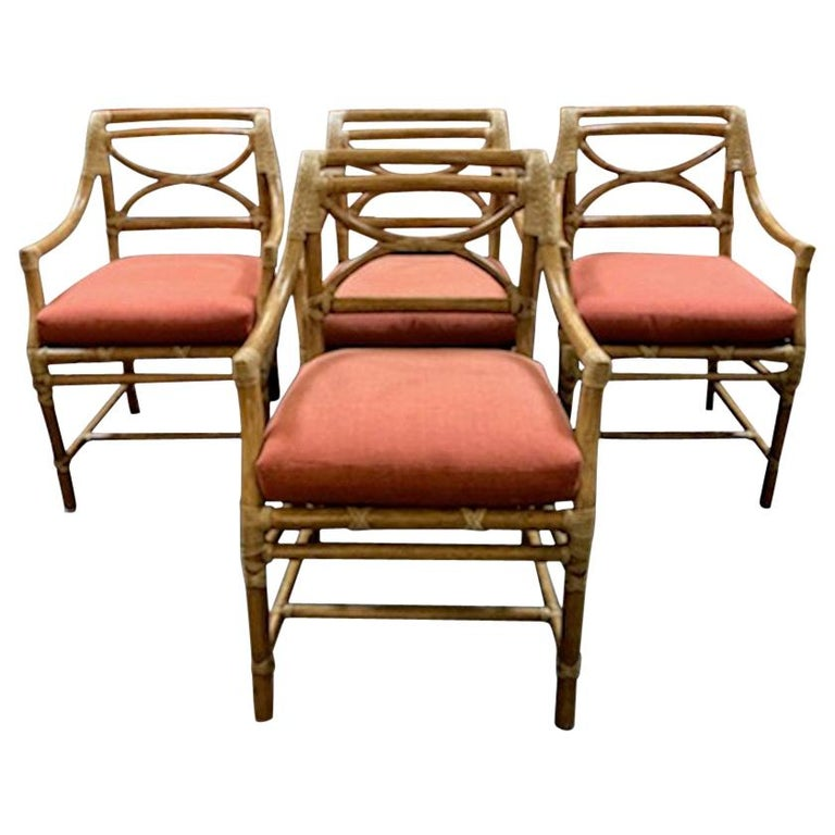 McGuire Regency Bamboo Armchairs, Set of Four