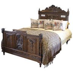 Breton Oak Antique Bed, WK98