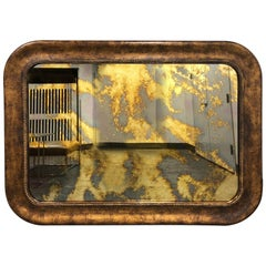 1960s Traditional Style Wood Mirror with Antiqued Glass