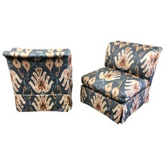 Marge Carson Blue and Ivory Ikat Print Club Chairs, a Pair