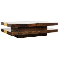 Brown Colored Italian Two-Tiered Sliding Coffee Table with Hidden Bar, Aldo Tura