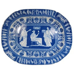 Minton Pottery Blue and White Classical Print Platter with a Masons Symbol