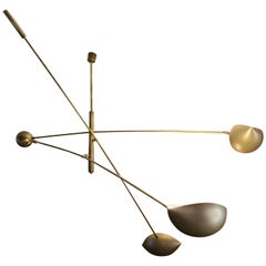 Three Armed Golden Italian Pendant Light with Brass Counterweight