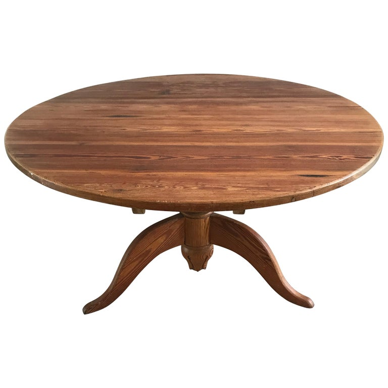 Large Antique Pitch Pine Round Farmhouse or Country Cottage Table
