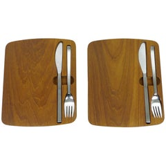 Pair of Teak Picnic Boards with Cutlery from BSF, Germany, 1960s