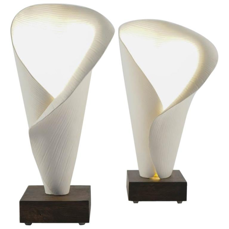 Pair of Table Lamps, White Ceramic Lamp Made by Hand Mounted on Solid Oak