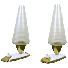 Pair of Table Lamps with Striped Glass Diffusers, Germany, 1950s