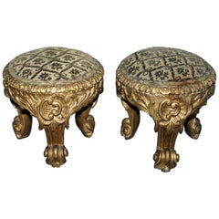 Rare Pair of Early 19th Century Italian Giltwood Stools Hand-Carved Solid Timber