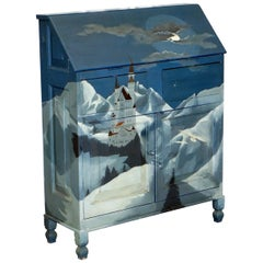 Hand-Painted Writing Bureau Desk of Neuschwanstein Castle in Bavaria Germany