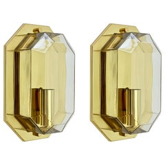 Limburg Vintage Pair of Geometric Clear Glass & Brass Wall Lights/Sconces, 1980s