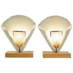 Pair of Table Lamp, in White Grey and Beige Made by Hand on a Solid Oak Base