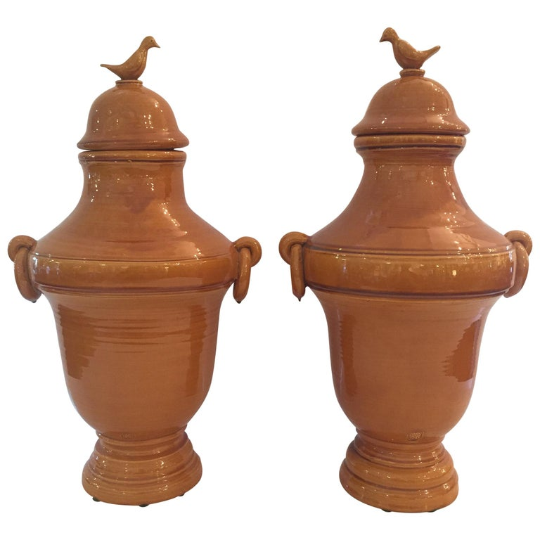 Pair of Beautiful Large French Biot Earthenware Lidded Urns