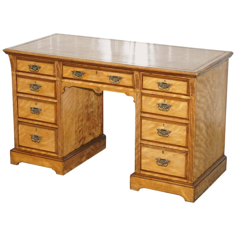 Stunning Victorian Satinwood Twin Pedestal Partner Desk Brown Leather Gold Top