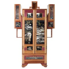 Contemporary Cabinet Coffee Mask, Mixed Woods with Photography in Acrylic