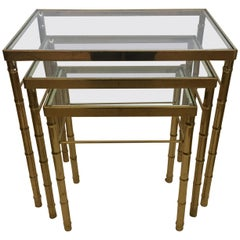 Versatile Set of Mid-Century Modern Brass Faux Bamboo Nesting Tables