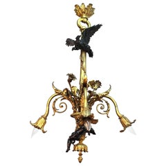 French Historicist Bronze Chandelier with Eagle and Putti