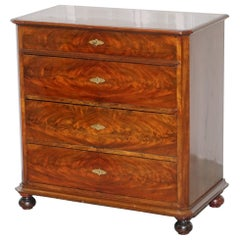 Stunning Biedermeier Flamed Mahogany Small Chest of Drawers Rare Find circa 1820