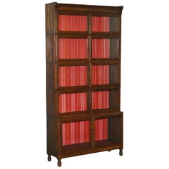 Modular Minty Oxford Five-Piece Antique Stacking Legal Library Bookcase